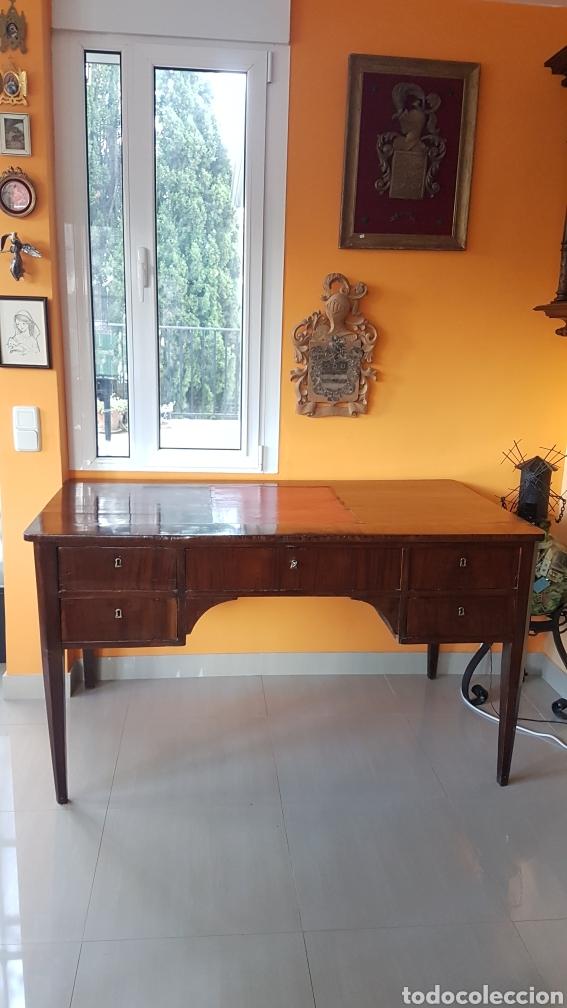 MESA DE DESPACHO DE CAOBA CUBANA FINALES XIX (Antigüedades - Muebles Antiguos - Mesas de Despacho Antiguos)