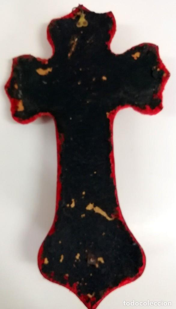 Antigüedades: ANTIQUÍSIMA BENDITERA DE METAL SOBRE TERCIOPELO - Foto 7 - 267847799