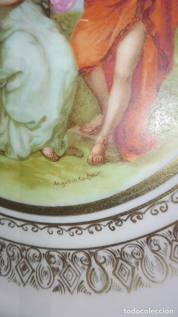 Antigüedades: PRECIOSA PAREJA DE PLATOS DE PORCELANA DE SANTA CLARA CON ESCENAS MITOLÓGICAS - Foto 4 - 267850399