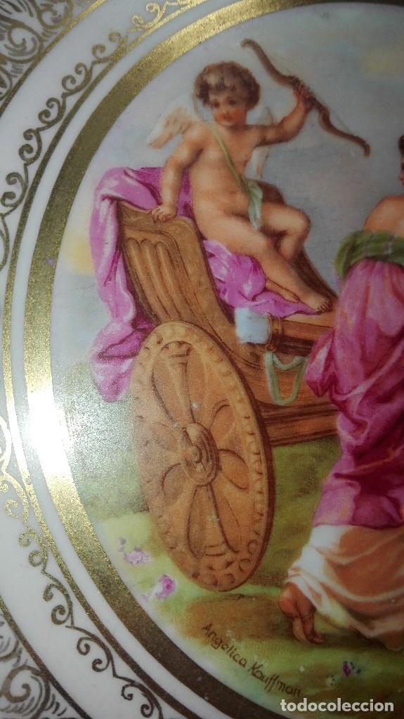 Antigüedades: PRECIOSA PAREJA DE PLATOS DE PORCELANA DE SANTA CLARA CON ESCENAS MITOLÓGICAS - Foto 9 - 267850399
