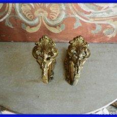 Antigüedades: ALZAPAÑOS ANTIGUOS DE BRONCE PARA CORTINAS. Lote 267859184