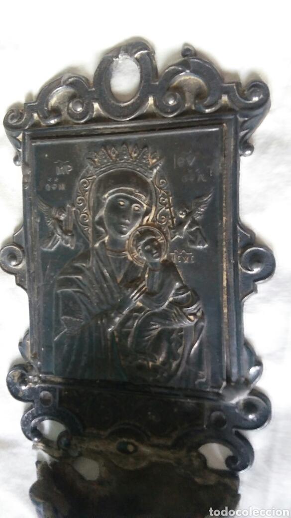 Antigüedades: Benditera antigua en estaño - para arreglar - Foto 6 - 267869099