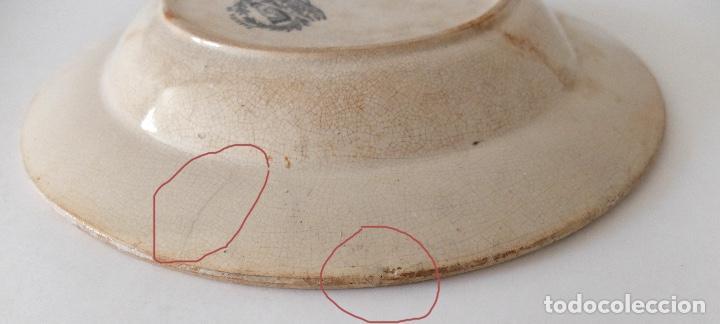Antigüedades: PLATO HONDO DE CERÁMICA LA AMISTAD CARTAGENA, ESCENAS DE CAZA EN ÁFRICA: LEONES, PALMERAS. SIGLO XIX - Foto 5 - 267873269