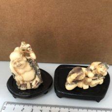 Antigüedades: ANTIGUAS FIGURAS BUDISTAS BUDA PARECE MARFIL -. Lote 267888979