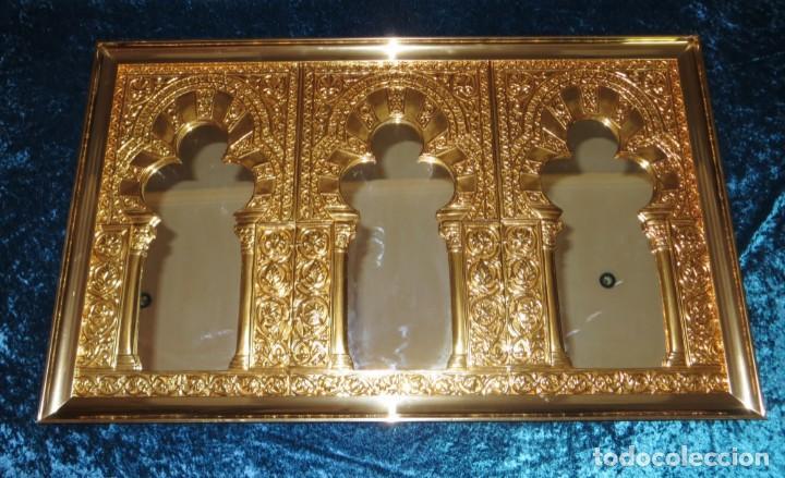 Antigüedades: Antiguo espejo árabe arcos trébol trilobulado dorado metal repujado Mezquita Córdoba - Foto 6 - 268040494