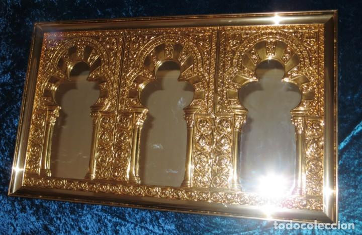 Antigüedades: Antiguo espejo árabe arcos trébol trilobulado dorado metal repujado Mezquita Córdoba - Foto 8 - 268040494