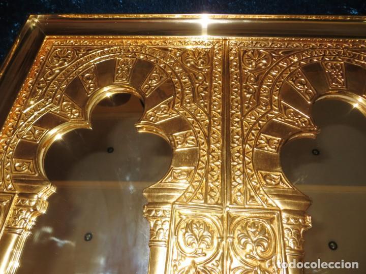 Antigüedades: Antiguo espejo árabe arcos trébol trilobulado dorado metal repujado Mezquita Córdoba - Foto 20 - 268040494