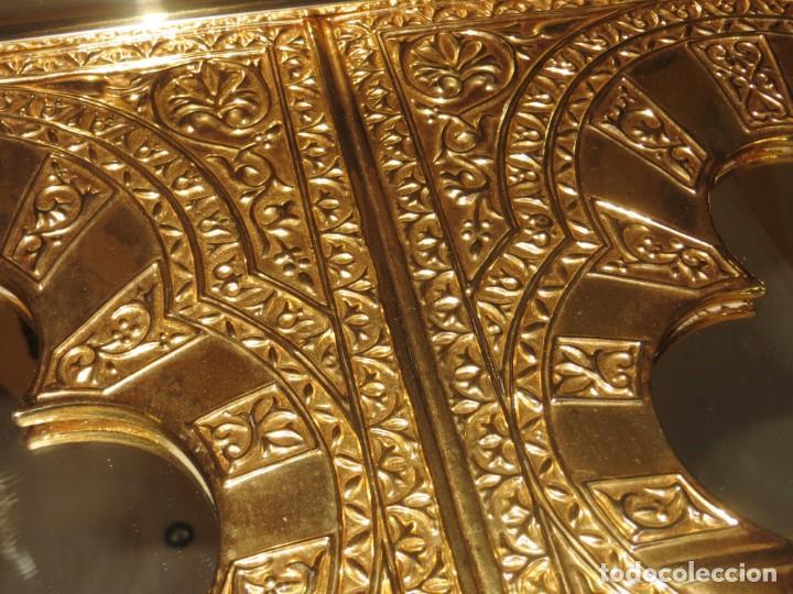 Antigüedades: Antiguo espejo árabe arcos trébol trilobulado dorado metal repujado Mezquita Córdoba - Foto 21 - 268040494