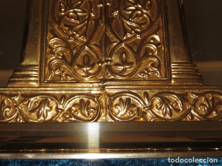 Antigüedades: Antiguo espejo árabe arcos trébol trilobulado dorado metal repujado Mezquita Córdoba - Foto 25 - 268040494