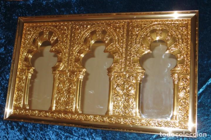 Antigüedades: Antiguo espejo árabe arcos trébol trilobulado dorado metal repujado Mezquita Córdoba - Foto 29 - 268040494