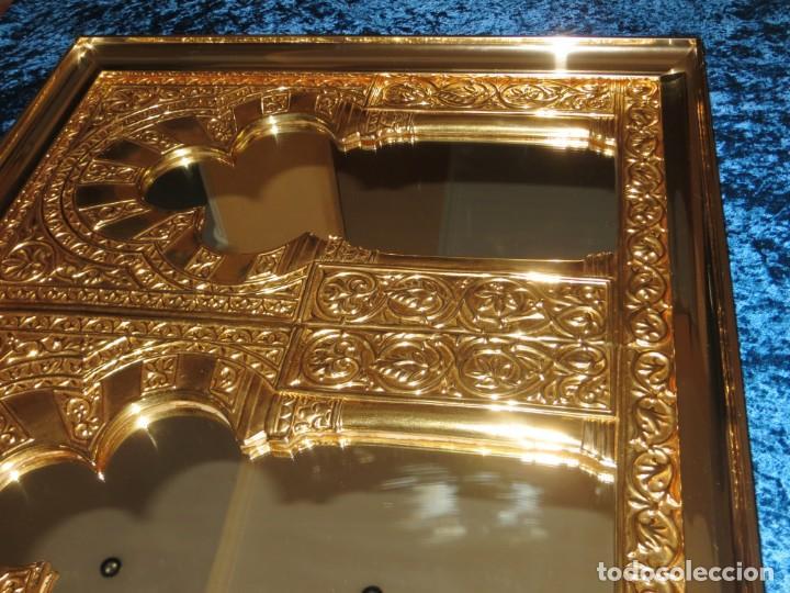 Antigüedades: Antiguo espejo árabe arcos trébol trilobulado dorado metal repujado Mezquita Córdoba - Foto 32 - 268040494