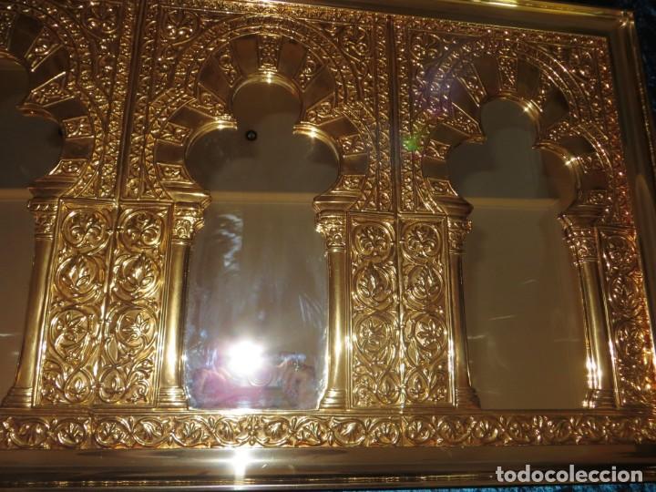 Antigüedades: Antiguo espejo árabe arcos trébol trilobulado dorado metal repujado Mezquita Córdoba - Foto 39 - 268040494