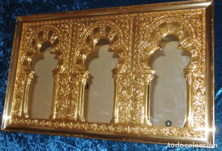 Antigüedades: Antiguo espejo árabe arcos trébol trilobulado dorado metal repujado Mezquita Córdoba - Foto 57 - 268040494
