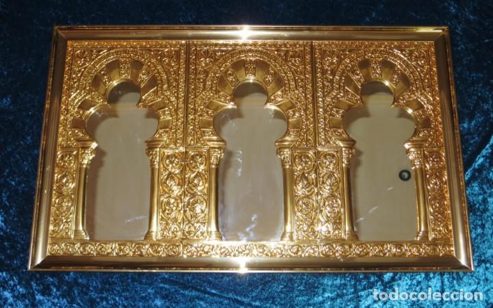Antigüedades: Antiguo espejo árabe arcos trébol trilobulado dorado metal repujado Mezquita Córdoba - Foto 58 - 268040494