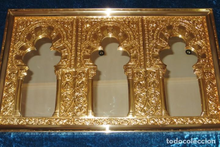 Antigüedades: Antiguo espejo árabe arcos trébol trilobulado dorado metal repujado Mezquita Córdoba - Foto 59 - 268040494