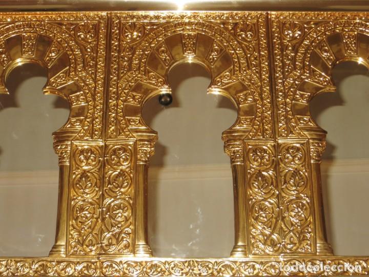 Antigüedades: Antiguo espejo árabe arcos trébol trilobulado dorado metal repujado Mezquita Córdoba - Foto 60 - 268040494