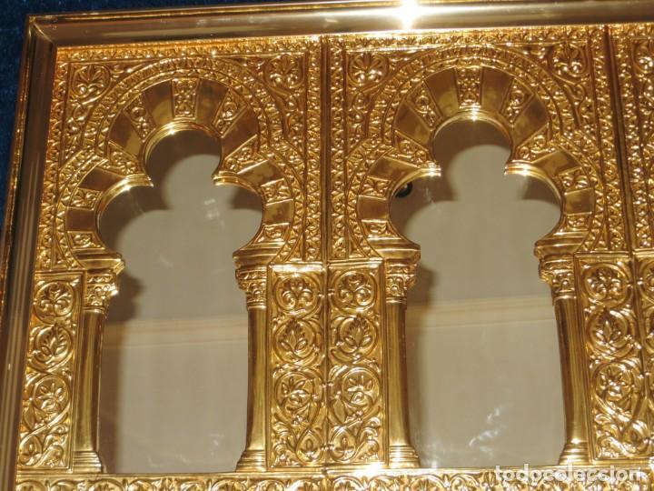 Antigüedades: Antiguo espejo árabe arcos trébol trilobulado dorado metal repujado Mezquita Córdoba - Foto 61 - 268040494