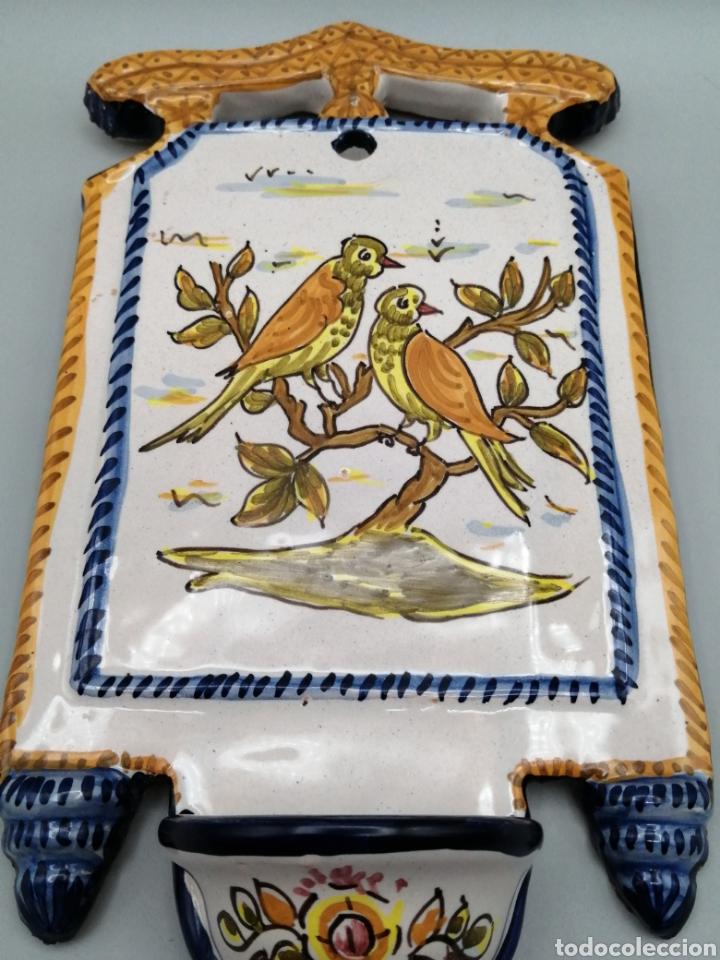 Antigüedades: Benditera cerámica esmaltada Toledo - Foto 2 - 268127224
