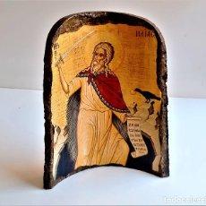 Oggetti Antichi: TEJA BARRO CON IMPRESION RELIGIOSA DECORACION - 24.CM ALTO X 19.CM ANCHO. Lote 268136809