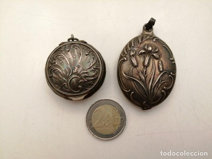 2 CAJAS DE PLATA MACIZA 900, COLGANTES (Antigüedades - Platería - Plata de Ley Antigua)