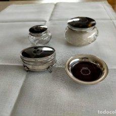 Antiquités: JUEGO TOCADOR CAREY, CRISTAL Y PLATA. Lote 268165939