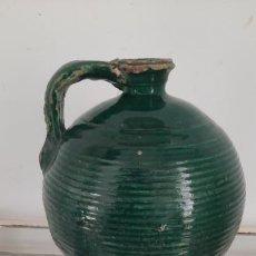 Antigüedades: PERULA ACEITERA EN CERAMICA ESMALTADA VERDE DE TRANA SIGLO XIX. Lote 268275699