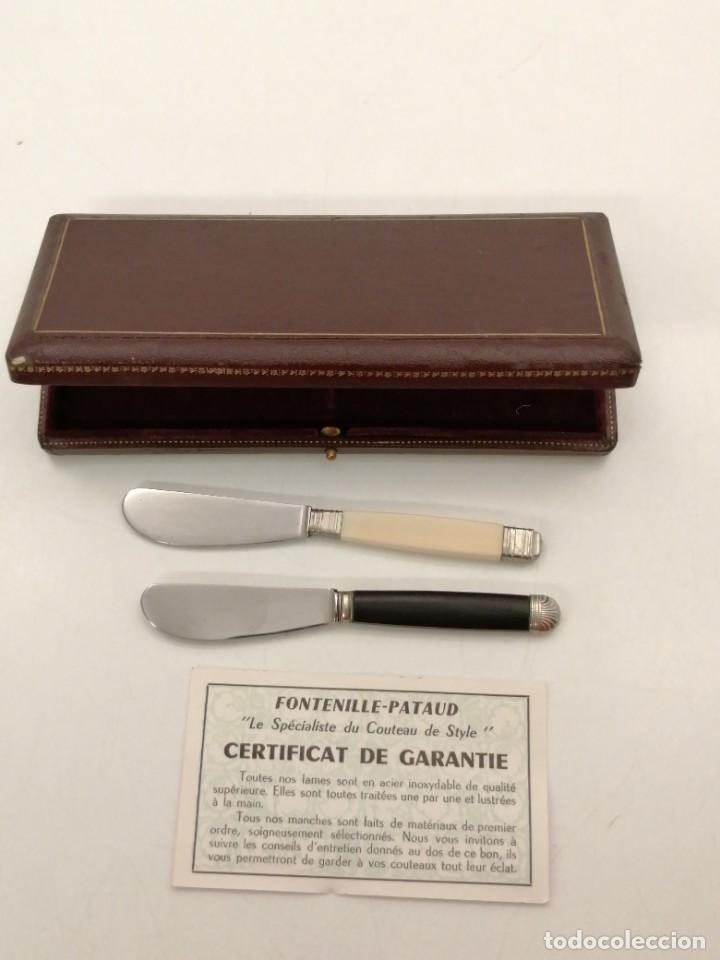 PAREJA CUCHILLOS MANTEQUILLA / PATE, (TARTINEURS COTEAU), EBANO Y MARFIL, ESTUCHE Y CERTIFICADO (Antigüedades - Técnicas - Rústicas - Utensilios del Hogar)