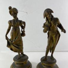 Antigüedades: PAREJA DE FIGURAS DE CALAMINA CON BASE DE ONIX. S.XIX.. Lote 268415114