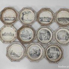 Antigüedades: ANTIGUA VAJILLA - 11 PLATOS STONE COQUEREL ET LE GROS, PARÍS - LOZA ESMALTADA - S. XIX. Lote 268421959