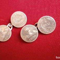 Antigüedades: ANTIGUOS GEMELOS REALIZADOS CON MONEDAS DE 1/4 REAL GUATEMALA - PLATA - 1895 Y 1896 - MUY RAROS. Lote 268450139