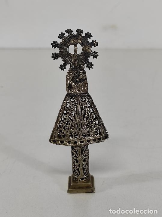 VIRGEN DEL PILAR - FILIGRANA DE PLATA - ALTURA 12 CM - S. XIX (Antigüedades - Religiosas - Orfebrería Antigua)