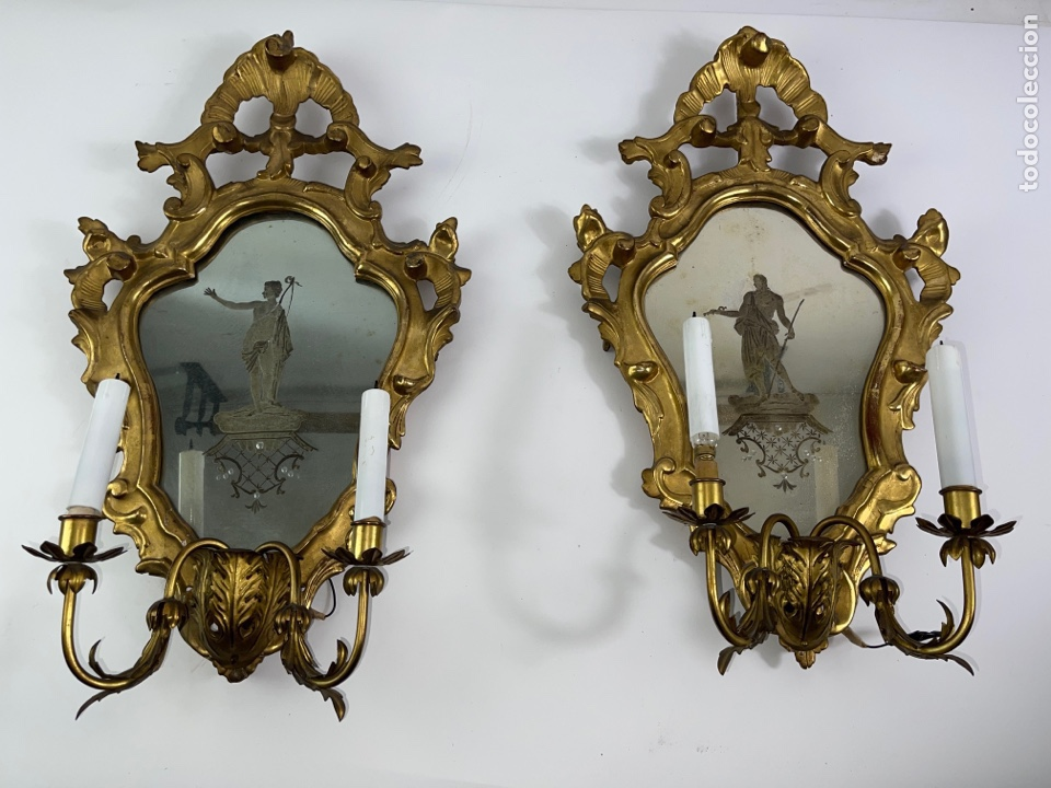 Antigüedades: PAREJA DE CORNUCOPIAS DORADAS AL ORO FINO CON ESPEJO Y ELECTRIFICADAS. S.XIX. - Foto 2 - 268571484