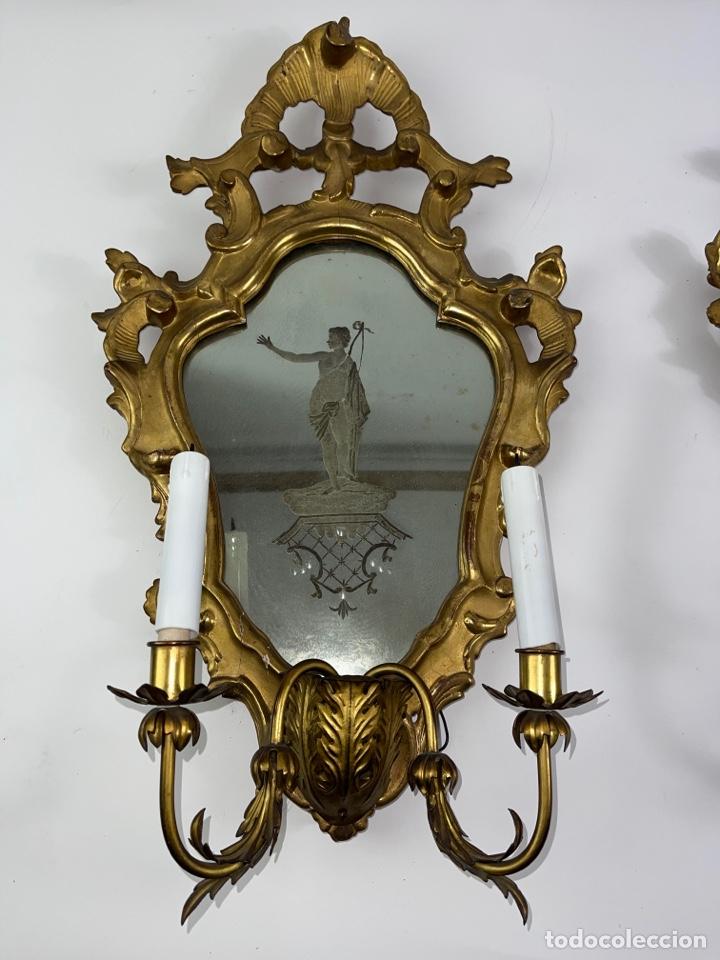 Antigüedades: PAREJA DE CORNUCOPIAS DORADAS AL ORO FINO CON ESPEJO Y ELECTRIFICADAS. S.XIX. - Foto 3 - 268571484