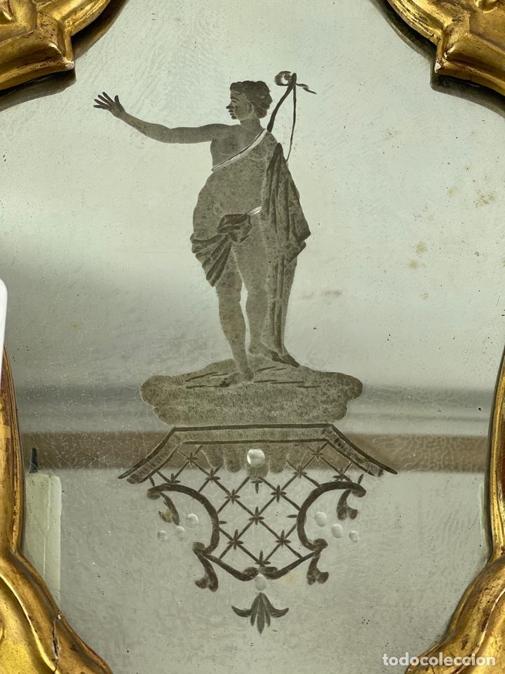 Antigüedades: PAREJA DE CORNUCOPIAS DORADAS AL ORO FINO CON ESPEJO Y ELECTRIFICADAS. S.XIX. - Foto 4 - 268571484