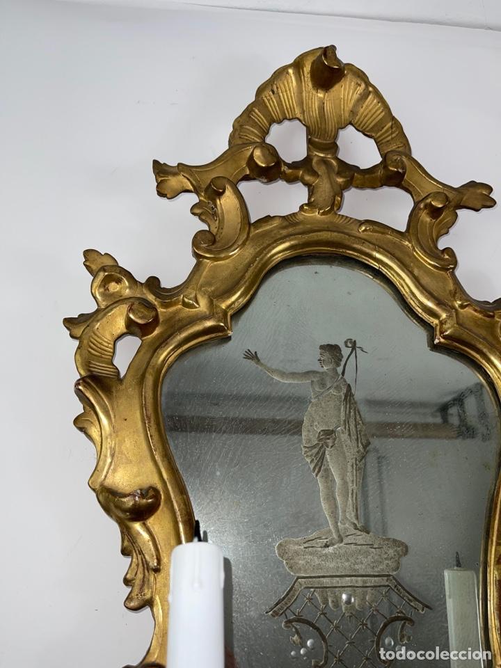 Antigüedades: PAREJA DE CORNUCOPIAS DORADAS AL ORO FINO CON ESPEJO Y ELECTRIFICADAS. S.XIX. - Foto 5 - 268571484