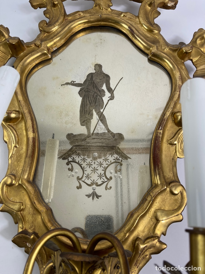 Antigüedades: PAREJA DE CORNUCOPIAS DORADAS AL ORO FINO CON ESPEJO Y ELECTRIFICADAS. S.XIX. - Foto 10 - 268571484