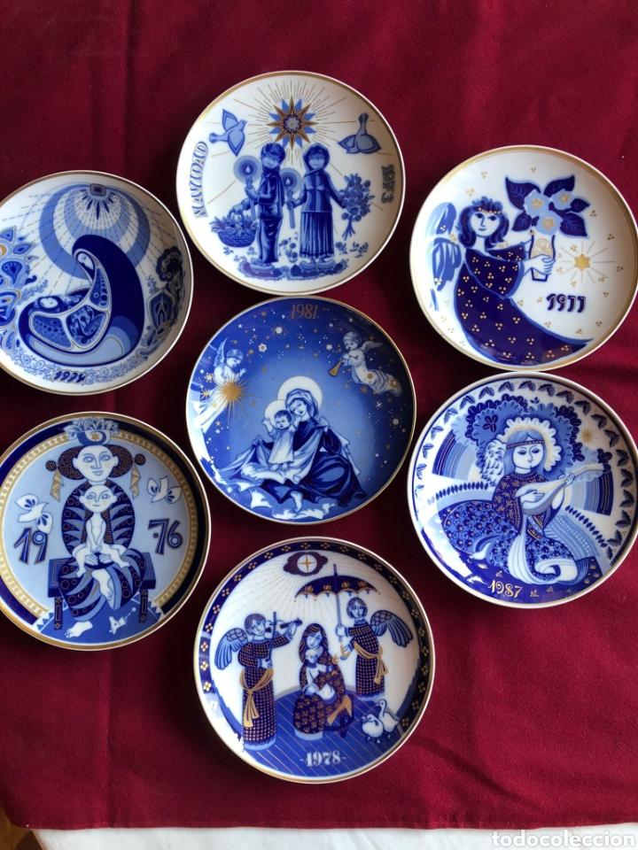 7 PLATOS DE SANTA CLARA. PORCELANA AZUL. 21 CM. (Antigüedades - Porcelanas y Cerámicas - Santa Clara)