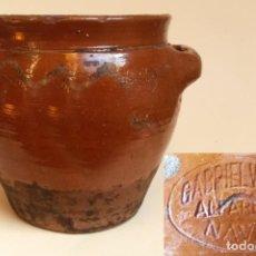 Antigüedades: C109.- CAZUELA, ORZA, EN CERAMICA POPULAR, DE MITAD DEL S. XX. NAVAL.. Lote 116837255
