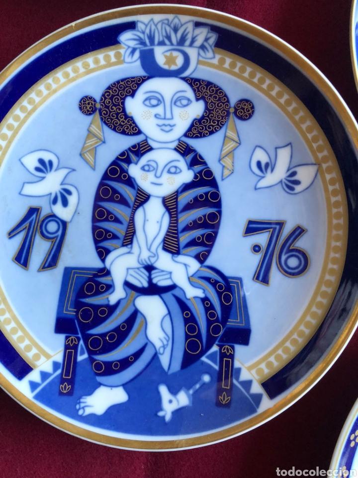 Antigüedades: 7 PLATOS DE SANTA CLARA. PORCELANA AZUL. 21 CM. - Foto 6 - 268604259