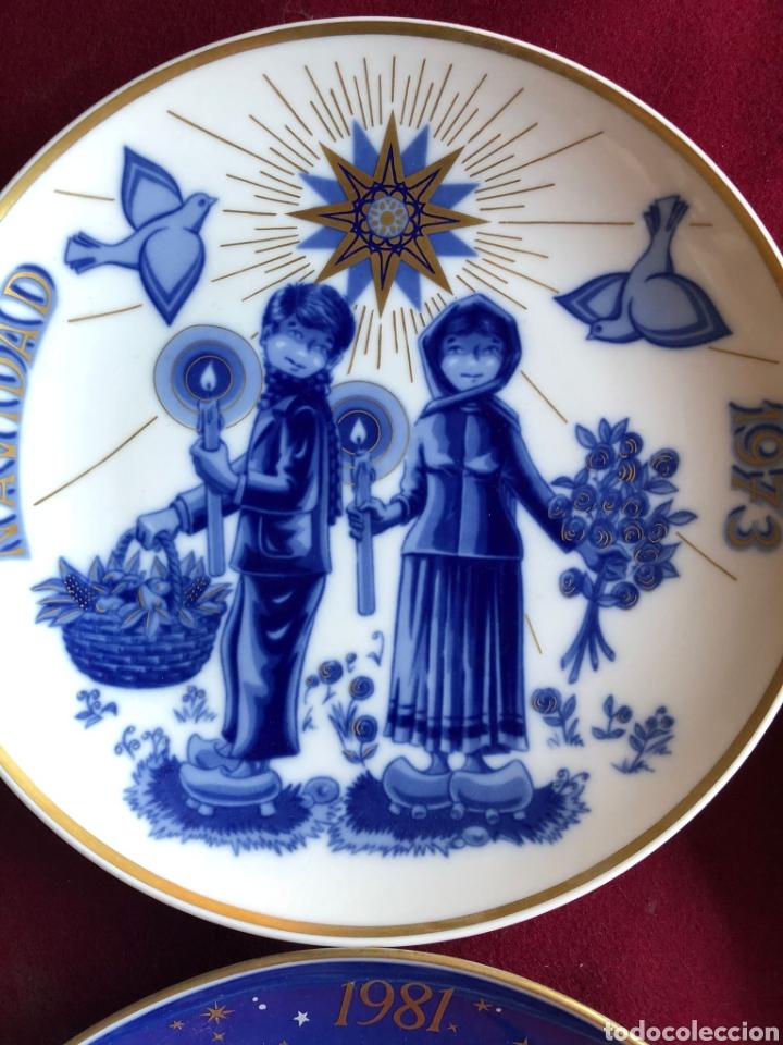 Antigüedades: 7 PLATOS DE SANTA CLARA. PORCELANA AZUL. 21 CM. - Foto 11 - 268604259