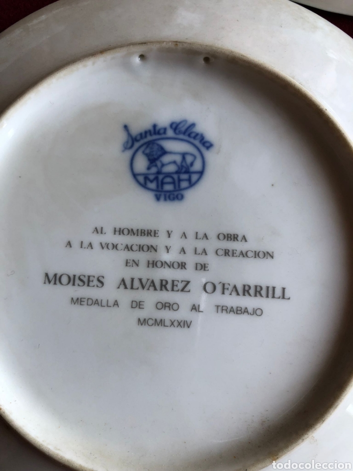 Antigüedades: 3 PLATOS DE SANTA CLARA. PORCELANA AZUL. 21 CM. - Foto 5 - 268605229