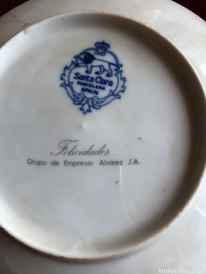 Antigüedades: 3 PLATOS DE SANTA CLARA. PORCELANA AZUL. 21 CM. - Foto 6 - 268605229