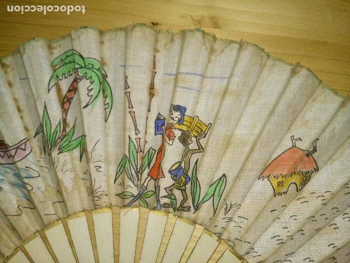 Antigüedades: ANTIGUO ABANICO DE MADERA - TELA PINTADA - TEMA SAFARI - Foto 6 - 268610994