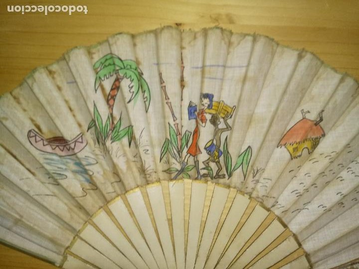 Antigüedades: ANTIGUO ABANICO DE MADERA - TELA PINTADA - TEMA SAFARI - Foto 8 - 268610994