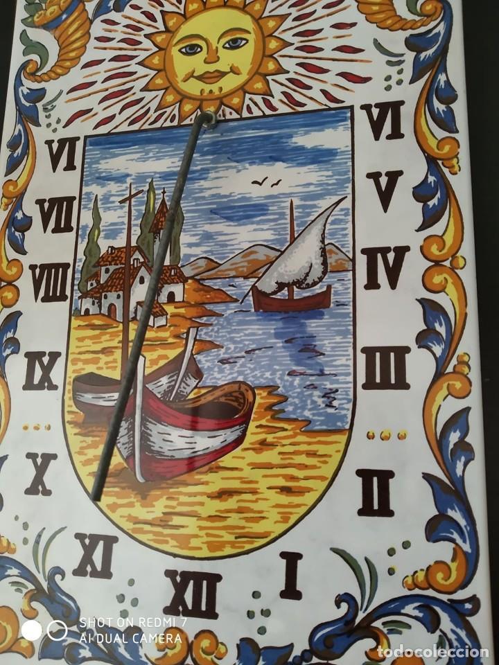 Antigüedades: clasico reloj sol azulejo ceramico esmaltado, preciosa pieza completo casa rural - Foto 2 - 268616649