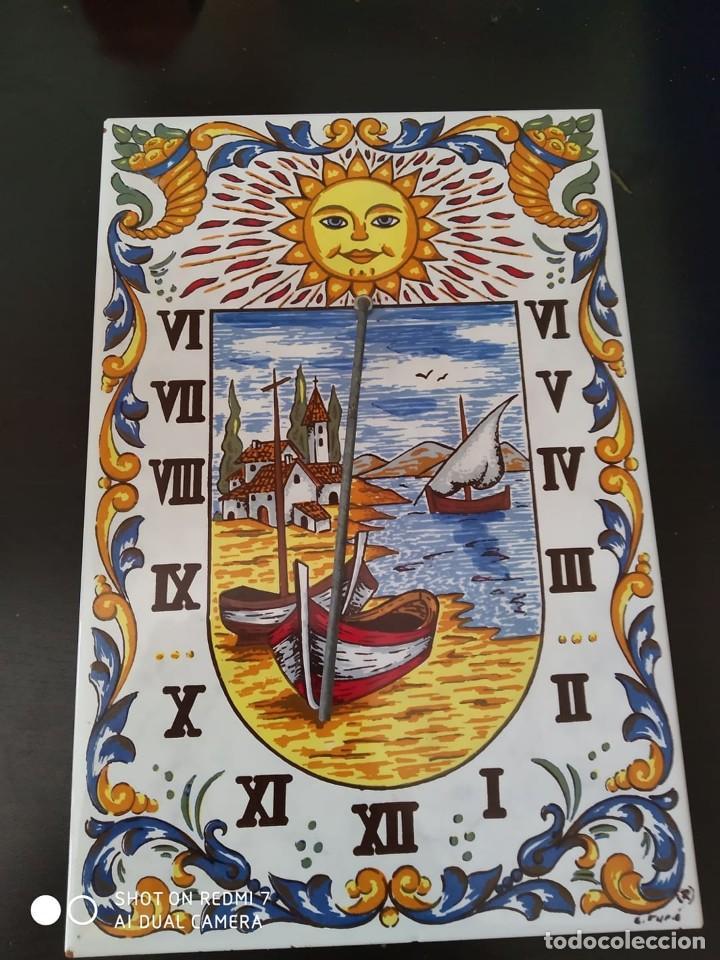 Antigüedades: clasico reloj sol azulejo ceramico esmaltado, preciosa pieza completo casa rural - Foto 3 - 268616649