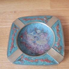 Antigüedades: CENICERO BRONCE LATON. Lote 268721384