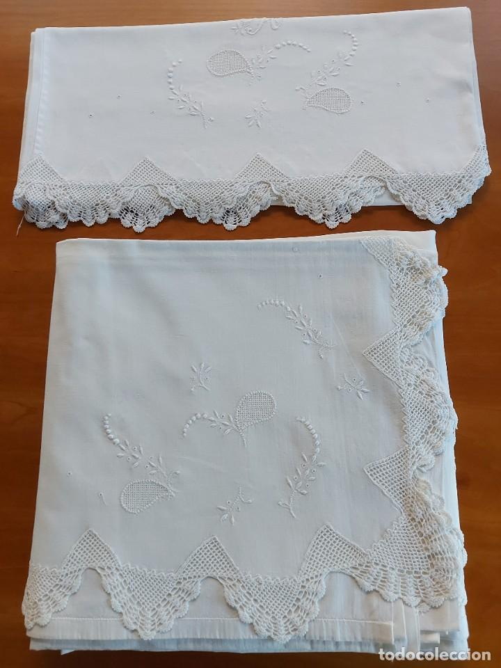 Antigüedades: Juego de sábanas bordadas - Foto 2 - 268748444