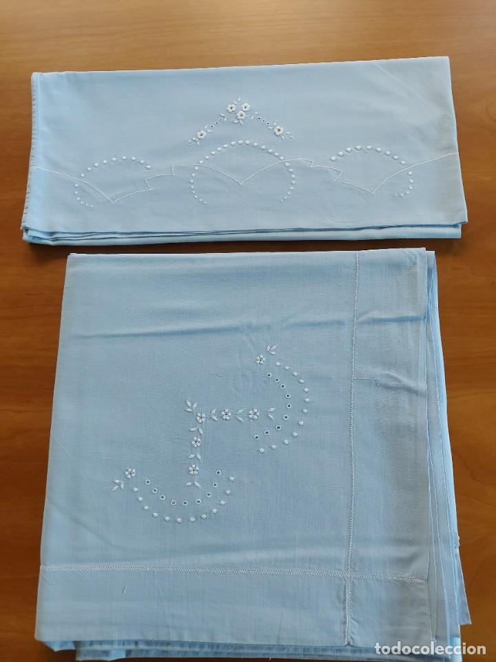 Antigüedades: Juego de sábanas bordadas - Foto 2 - 268749064