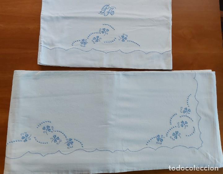 Antigüedades: Juego de sábanas bordadas - Foto 3 - 268749669